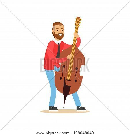 Male cellist playing cello vector Illustration on a white background