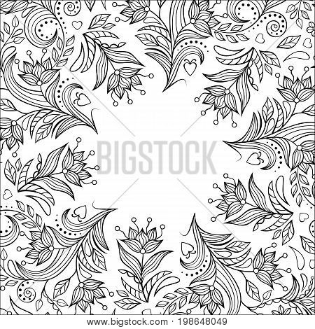 Card with hand drawn flowers on white background. Coloring page for children and adult. Vector illustration.