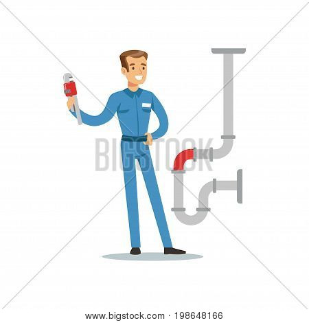 Proffesional plumber man character with monkey wrench repairing pipeline, plumbing work vector Illustration on a white background
