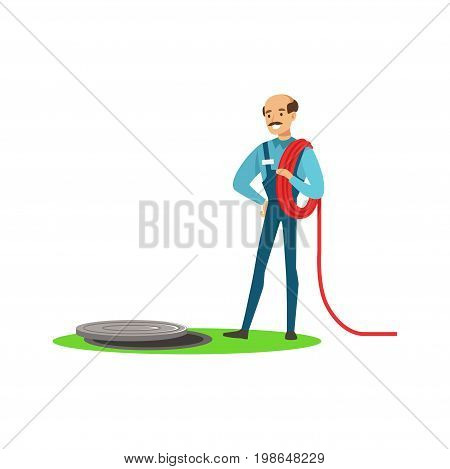 Proffesional plumber man character stnding next to a sewer manhole, plumbing work vector Illustration on a white background