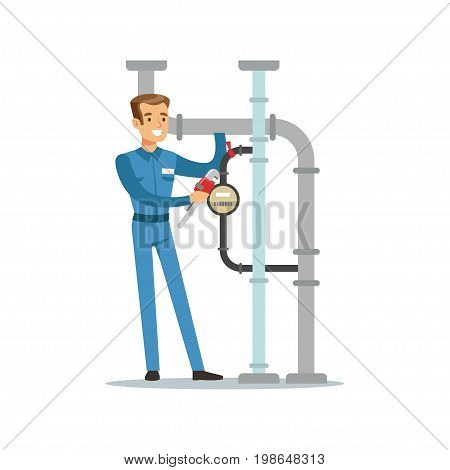 Proffesional plumber man character installing a water meter on a pipeline, plumbing work vector Illustration on a white background