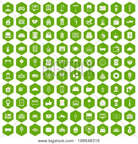 100 hotel icons set in green hexagon isolated vector illustration