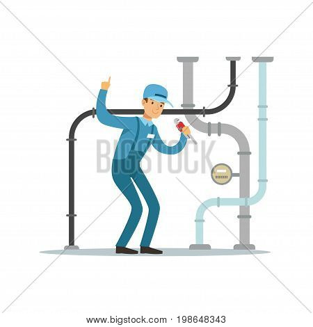 Proffesional plumber man character repairing and fixing water pipes, plumbing work vector Illustration on a white background