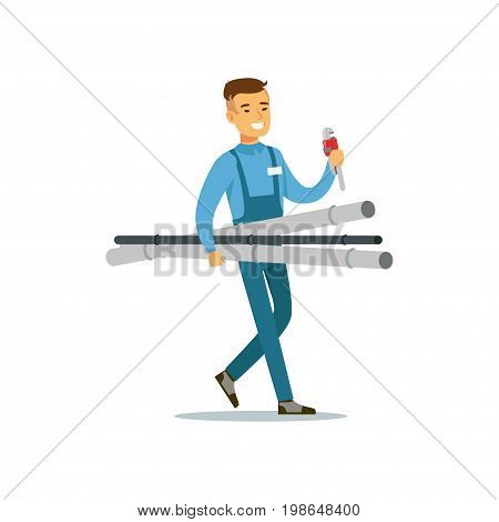 Proffesional plumber man character walking with pipes and monkey wrench, plumbing work vector Illustration on a white background