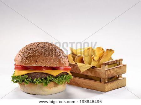 Burger and fried potatoes menu.