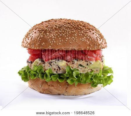 Salmon fish burger with grapefruit isolated on white background.
