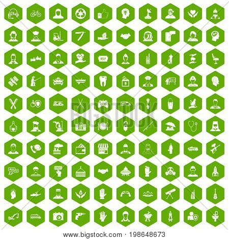 100 human resources icons set in green hexagon isolated vector illustration