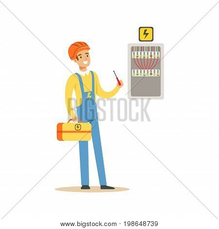 Professional electrician man character screwing equipment in fuse box, electric man perforrming electrical works vector Illustration isolated on a white background