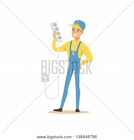 Professional electrician man character standing and holding extension triple cord, electrical works vector Illustration isolated on a white background