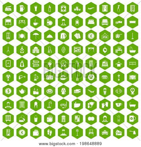 100 inn icons set in green hexagon isolated vector illustration