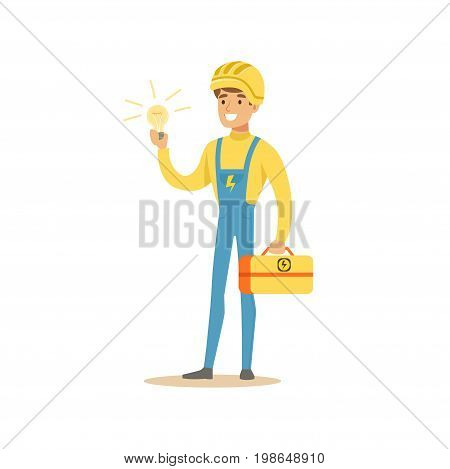 Professional electrician man character standing and holding tool box and electric bulb, electrical works vector Illustration isolated on a white background