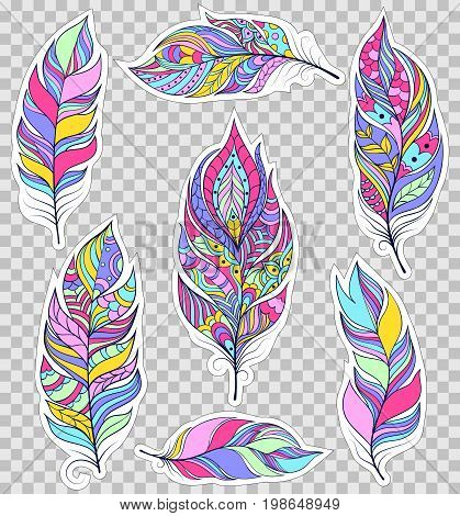 Set of colorful feathers on transparent background. Stickers for scrapbooking, gift boxes, skins, cases, wallets etc. Vector illustration.