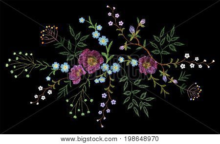 Embroidery trend floral pattern small branches herb rose with little blue violet flower. Ornate traditional folk fashion patch design neckline blossom on black background vector illustration art