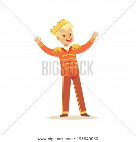 Cute little blonde boy wearing a prince costume, fairytale costume for party or holiday vector Illustration isolated on a white background