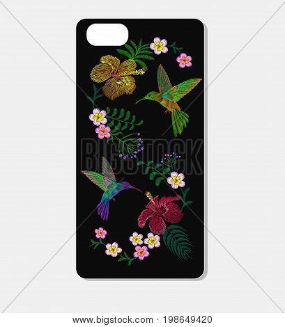 Tropic embroidery smartphone skin case design template. Exotic bird hummingbird bright flower fashion decoration patch vector illustration art