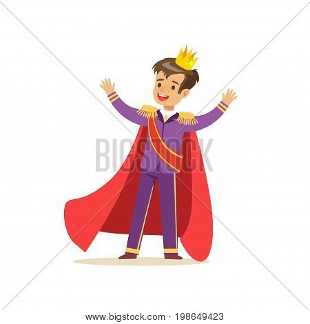 Cute boy prince in a golden crown, purple costume and red cloak, fairytale costume for party or holiday vector Illustration isolated on a white background
