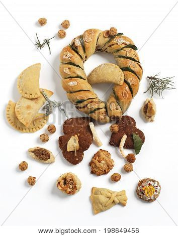 Fresh baked pastries beautifully displayed on white background