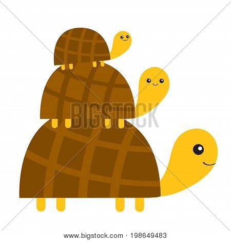Three turtle tortoise pyramid Cute cartoon character family set. Father mother baby. Pet animal collection. Education cards for kids. White background. Isolated. Flat design Vector illustration