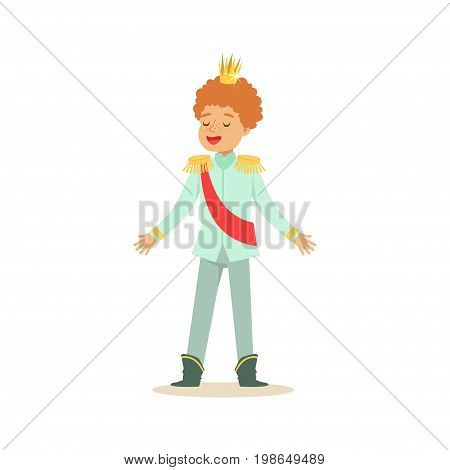Cute little redhead boy wearing in a light blue prince costume, fairytale costume for party or holiday vector Illustration isolated on a white background