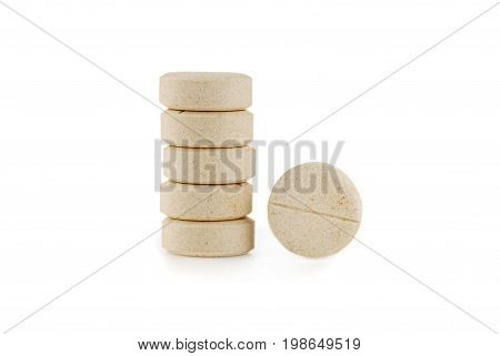 Yellow pills pile, medical therapy,  pills pack