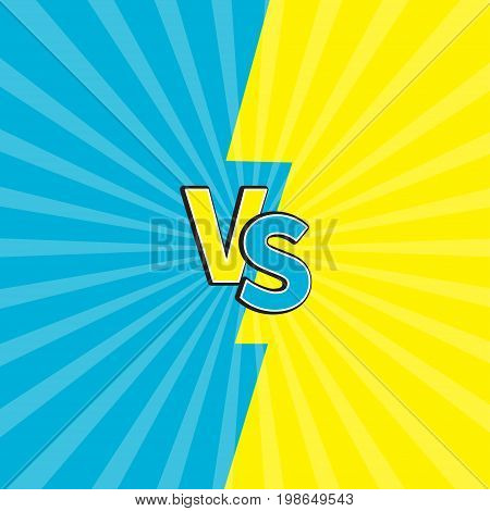 Versus letters or VS battle fight competition. Cute cartoon style. Blue yellow background template. Sunburst with ray of light. Starburst effect. Flat design. Vector illustration
