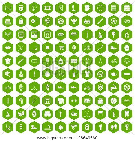 100 kettlebell icons set in green hexagon isolated vector illustration