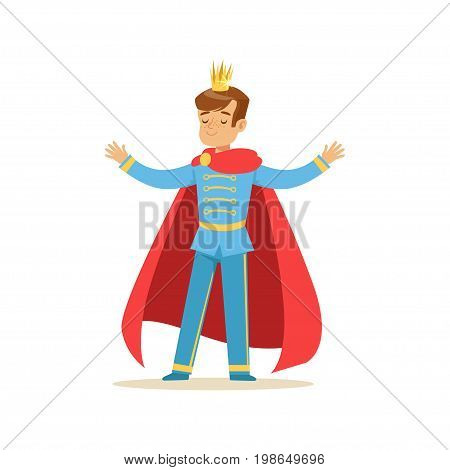 Cute boy prince in a golden crown and red cloak, fairytale costume for party or holiday vector Illustration isolated on a white background