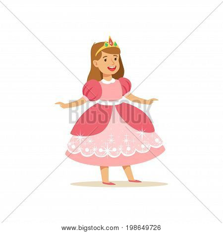 Beautifull little girl princess in pink ball dress and golden tiara, fairytale costume for party or holiday vector Illustration isolated on a white background