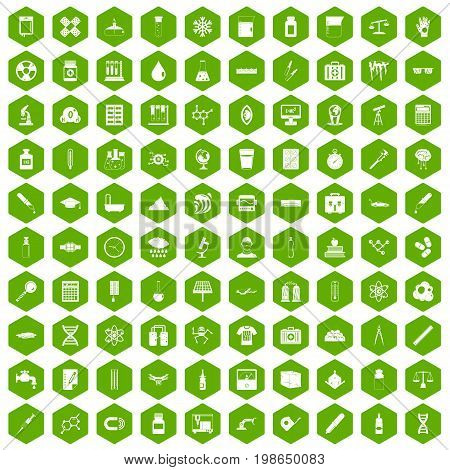 100 laboratory icons set in green hexagon isolated vector illustration