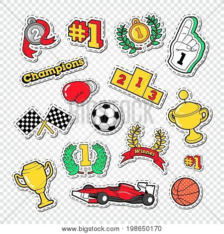 Sports Success Trophy Winner Stickers Set with Medals, Podium and Awards. Vector illustration