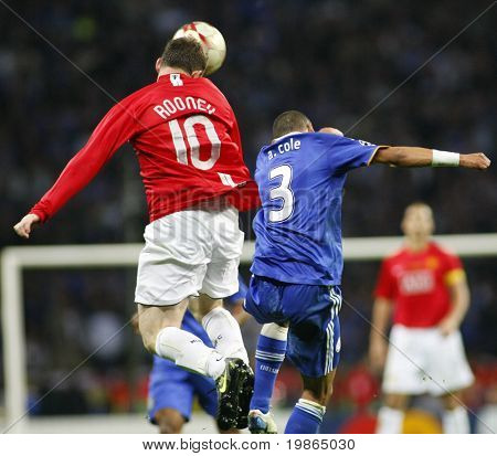 Wayne Rooney heads the ball during the Champions League Final held at Luzhniki Stadium Moscow 21 May 2008 and contested by Manchester United v Chelsea FC