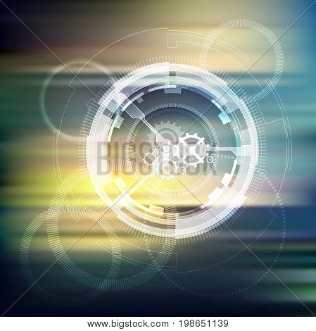 Abstract waves dotted hi-tech background. Vector illustration