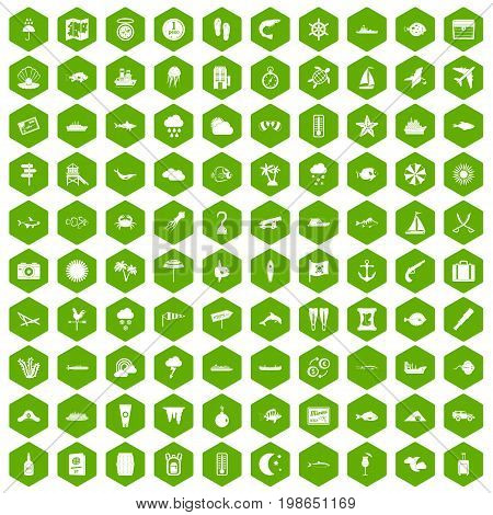 100 marine environment icons set in green hexagon isolated vector illustration