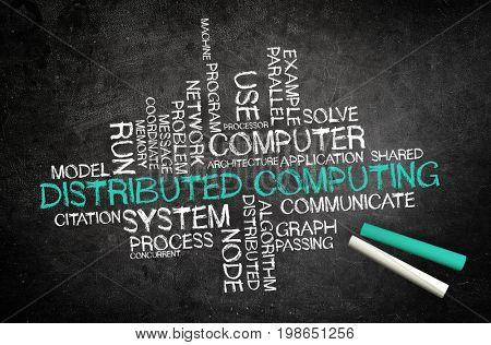 Distributed Computing. Handwriten on a blackboard
