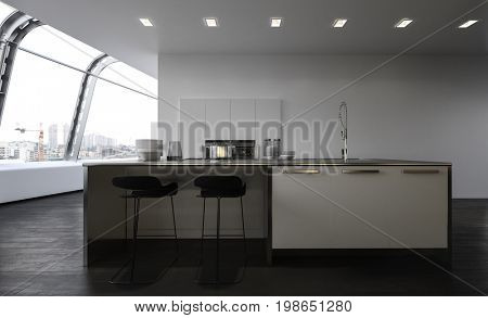 Modern open plan kitchen with center island with bar stools, sink and cupboards and built in appliances in a large spacious penthouse apartment with curved view windows along one wall. 3d Rendering.