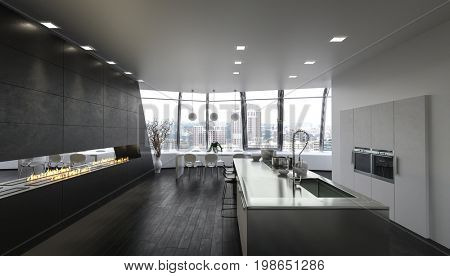 Kitchen island in modern spacious apartment with large windows. 3d Rendering.