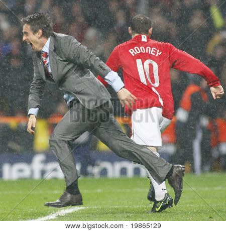 Gary Neville celebrates at the Champions League Final held at Luzhniki Stadium Moscow 21 May 2008 and contested by Manchester United v Chelsea FC