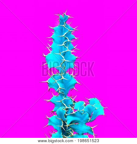 Cactus. Art Gallery Fashion Design. Minimal Stillife. Blue Neon cactus Mood, Surrealism. Trendy Bright Summer Colors. Creative Unusual Style. Fashion Concept, Pink background. Pop art