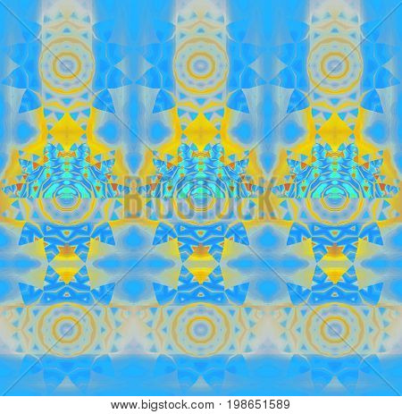 Abstract geometric background. Regular concentric circle ornaments bright yellow, orange, blue, light gray and turquoise, conspicuous and dreamy.