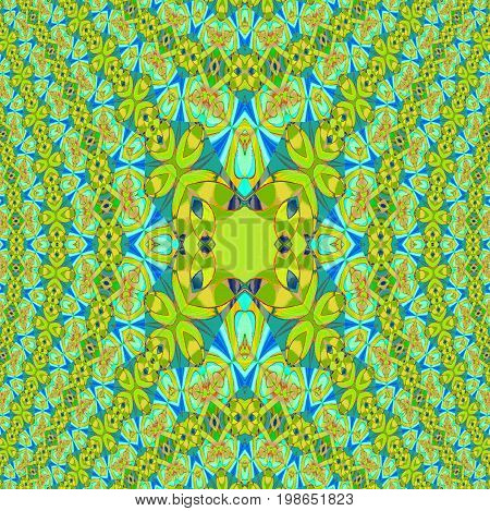 Abstract geometric background. Regular ornate ellipses pattern lemon lime green, orange and blue, centered and dimensional.
