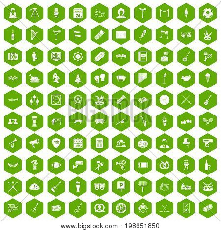 100 meeting icons set in green hexagon isolated vector illustration