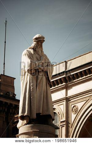Monument to Leonardo Da Vinci in Milan street Italy