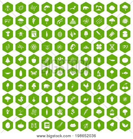 100 microbiology icons set in green hexagon isolated vector illustration