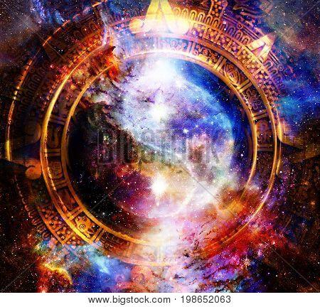 Yin Yang Symbol in maya calendar. Cosmic space background