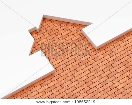 House Shape Brick Icon Concept