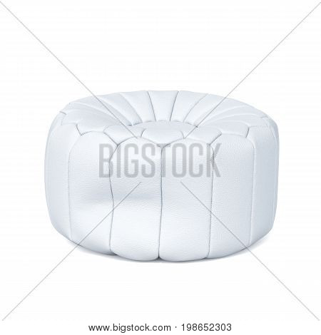 3d rendering of white soft leather beanbag isolated on white background