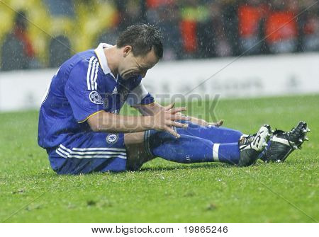 John Terry crying after missing a penalty during the Champions League Final held at Luzhniki Stadium Moscow 21 May 2008 and contested by Manchester United v Chelsea FC