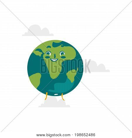 Vector cartoon flat globe happy humanized character with eyes and legs. Expressive emotional illustration isolated on a white background. Flat earth planet with continents, Save the planet concept