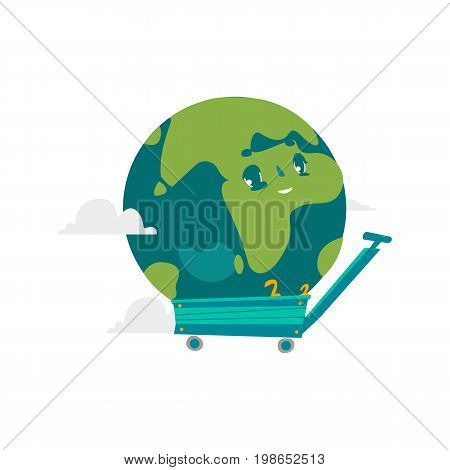 Vector cartoon flat globe humanized character with eyes in cart. Expressive emotional illustration isolated on a white background. planet with continents, Save the planet concept