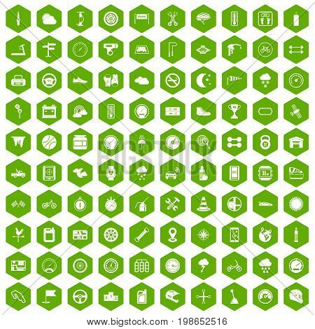 100 motorsport icons set in green hexagon isolated vector illustration